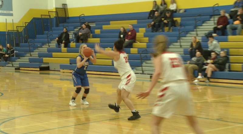 Jayden Karppinen hitting a three pointer for Esko, she led the team in points with 20.