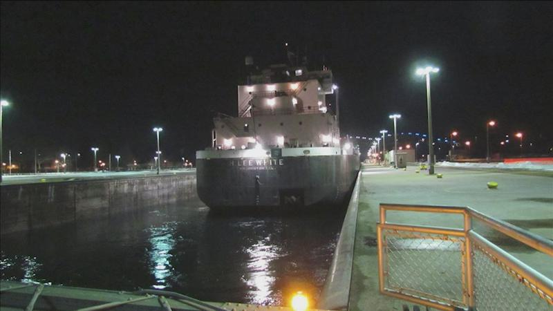 The first vessel up through the Soo Locks on Wednesday.