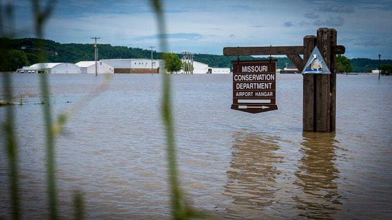 Water from the flooded Missouri River partially submerges the Jefferson City Memorial Airport, in Jefferson City, Mo., June 6, 2019.