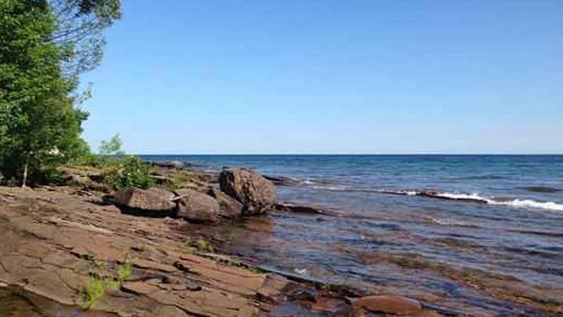 The Lake Superior shoreline is seen at Porcupine Mountains Wilderness State Park.