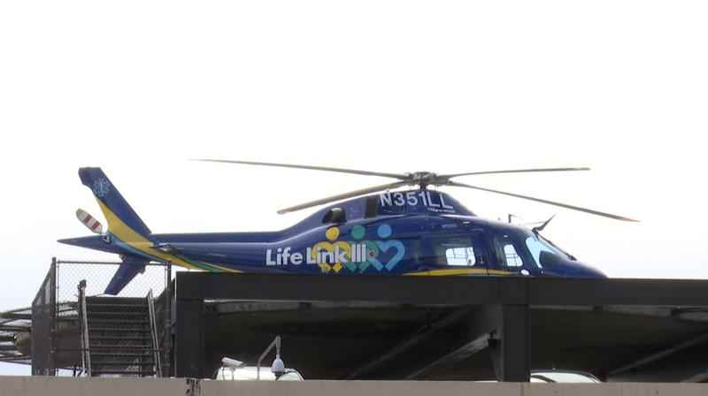 The injured woman was transported via Life Link III.