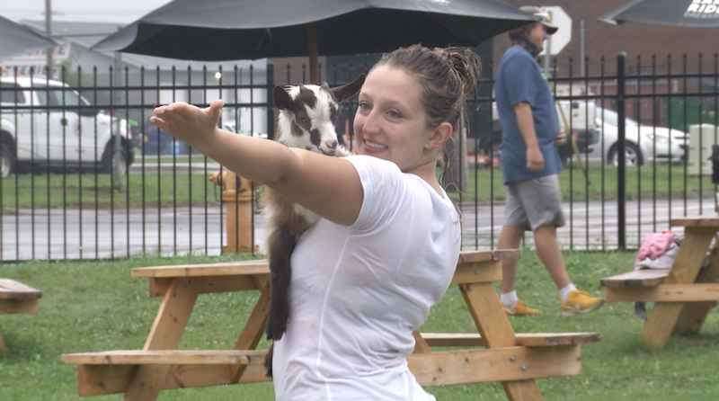 Duluth Goat Yoga hosted their first ever classes Saturday at the Earth Rider Brewery.