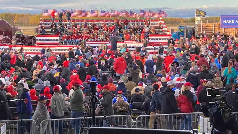 People gathered early to wait for President Donald Trump.