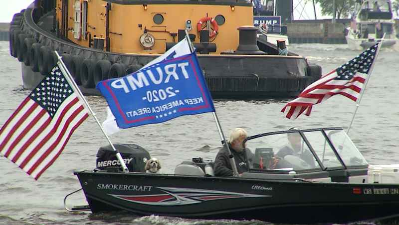 Trump supporters gather in Duluth Harbor