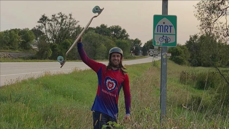 Daniel Plys is raising money for childhood hunger by longboarding 2500 miles down the Mississippi River Trail.