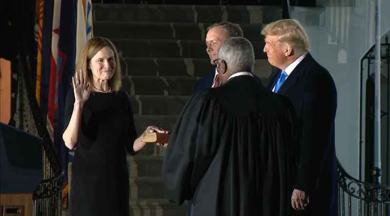 Justice Clarence Thomas swears in Amy Coney Barrett. There will be one more swearing-in Tuesday.