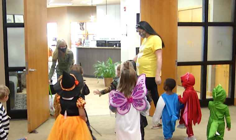Mesabi Preschool kids collect items for Proctor Food Shelf, in costumes.