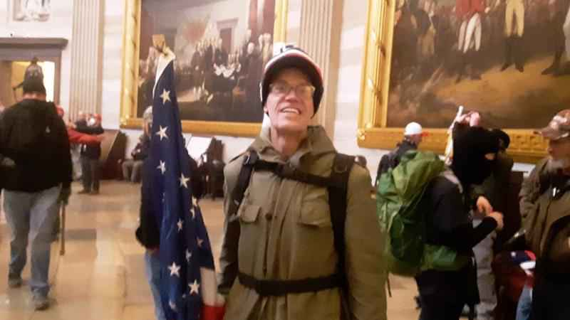 A complaint alleges this photo from social media shows Kevin Daniel Loftus in the U.S. Capitol on Jan. 6.