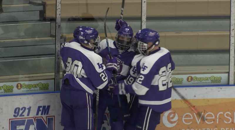 Little Falls' Matt Filippi scored in the first period to tie the game 1-1 against Duluth Denfeld at the Duluth Heritage Center on Saturday.