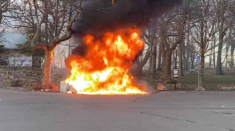 Four porta-potties destroyed in blaze at Enger Park in Duluth.