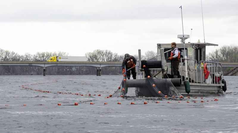 A USGS crew places a net in the Mississippi River as part of an operation to remove invasive carp.