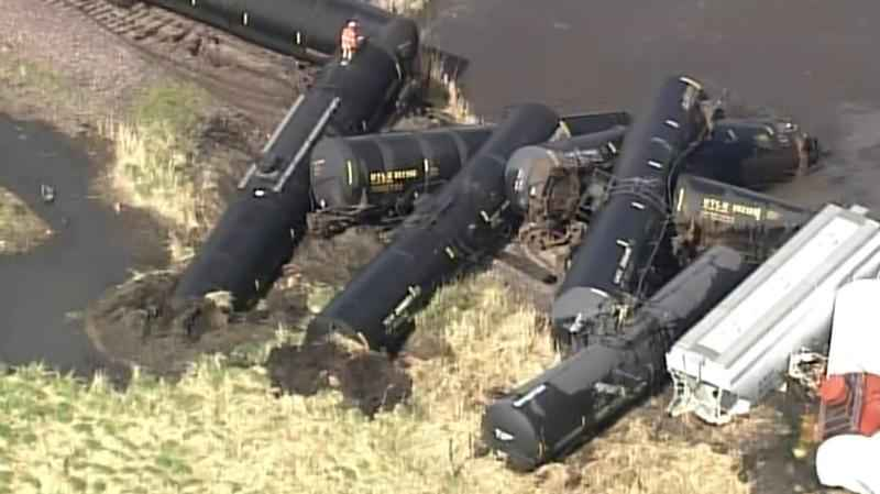 Police: 50 cars leave tracks in Minnesota train derailment