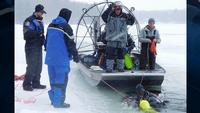 Searchers located the body of a man in Long Lake near Sarona, Wis., on Wednesday.