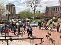 Dozens of bikers gathered in front of City Hall before heading out on the Mayor's Bike Ride.