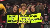 Megan Gustafson had quite a fan club at Williams Arena on Monday, including family members.