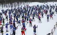 The 45th Annual American Birkebeiner was off to a snowy start in the morning Saturday.