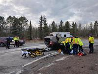 The Northland FireWire says one person was airlifted following a vehicle rollover crash on Highway 53 south of Eveleth on Saturday afternoon.