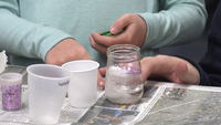 Kids visiting the Superior Public Library got to make snowstorms in a jar as part of a STEM lesson taught by UW-Extension.
