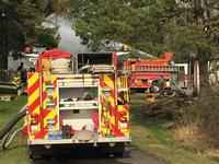 Multiple fire departments battled a fire Sunday afternoon�north of Buhl.